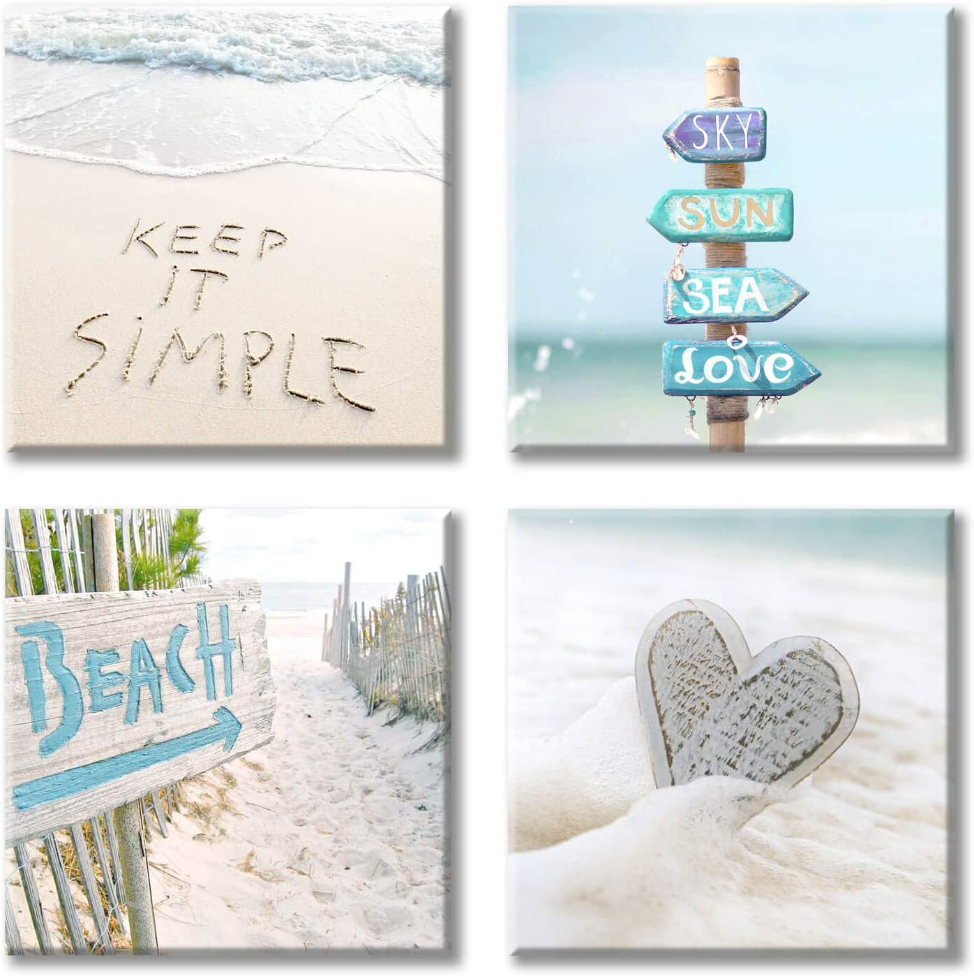 """Costal Canvas Wall Art Pictures: Beach Photographic Canvas Artwork for Room's Wall Decoration (12"""" x 12'' x 4 Panels)"""