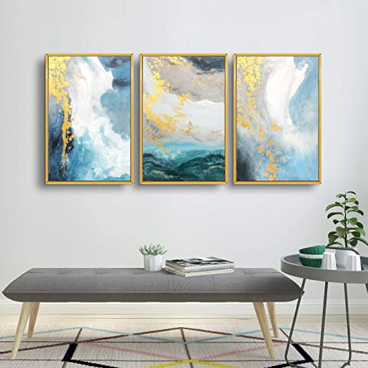 Amazon Com Artland Teal Abstract Wall Art 3 Pieces With Turquoise Gold Marble Framed Art Wall Decor For Home Decor Living Room Bedroom Office Stretched And Framed Ready To Hang 24x48 Inches Home