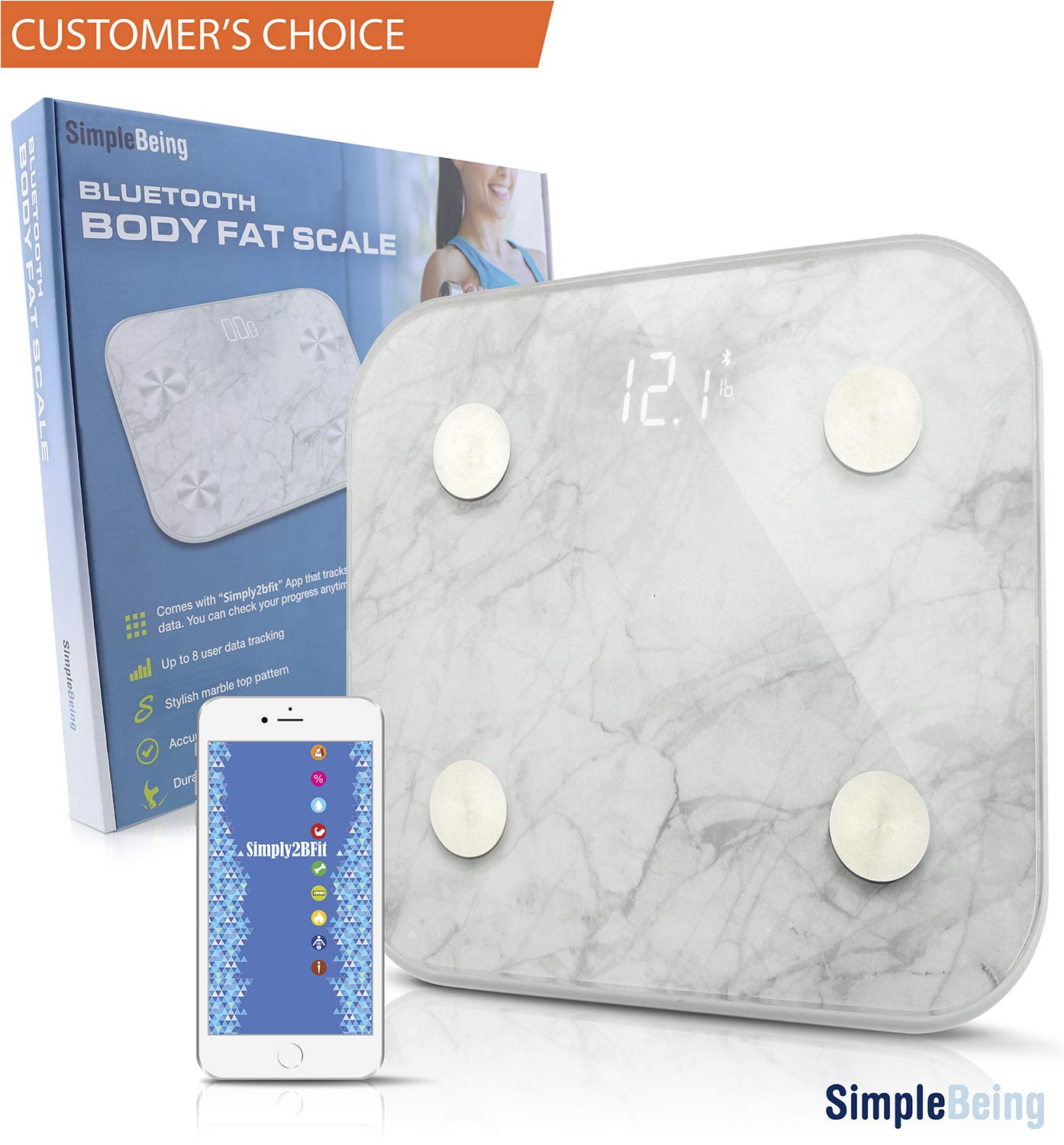 Simple Being Bluetooth Body Fat Scale, Smart Wireless Digital Bathroom Weighing Scale 400LB Capacity,