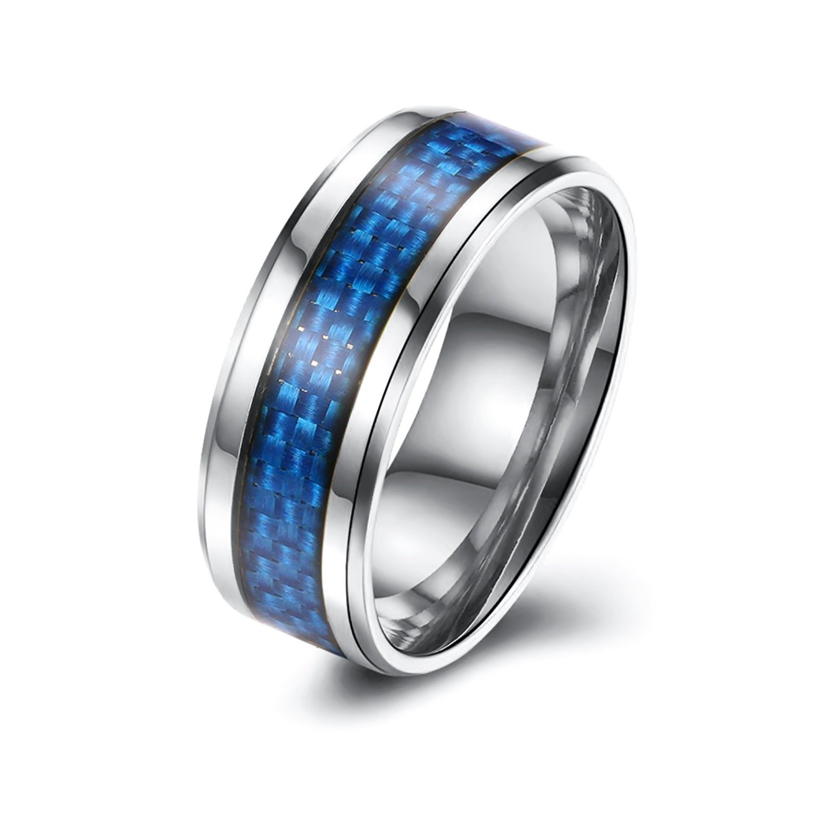 Epinki 8MM Blue Carbon Fiber Stainless Steel Carbide Wedding Band Ring Polished Finish Size 10 Men Accessories