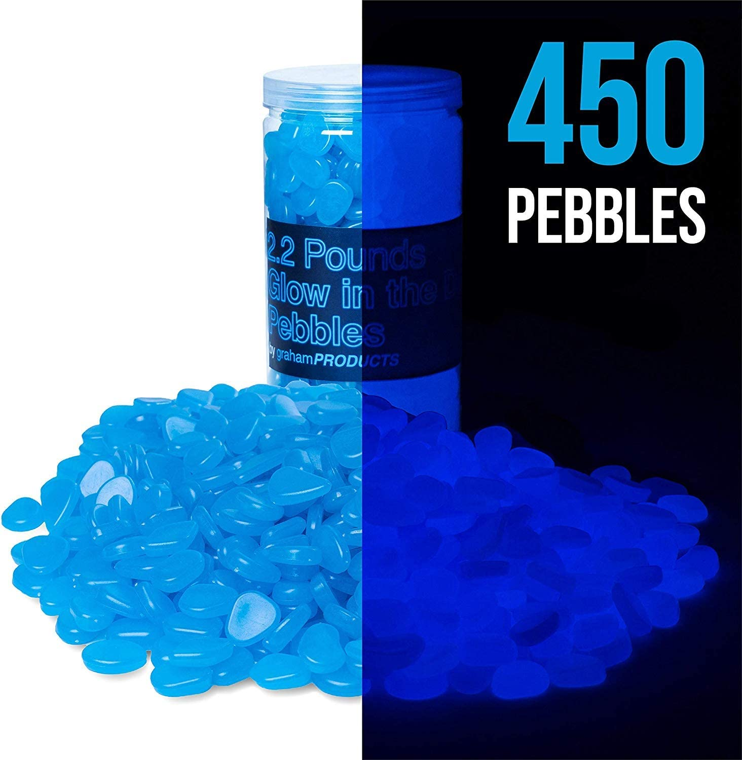 Graham Products 450 pcs, 2.2 lbs Glow in The Dark Pebbles (Blue) - Indoor Outdoor Zen Garden Stones, Moonlight Yard Plant Decorations, Fish Tank Aquarium Rocks, Solar Backyard LED Patio Decor