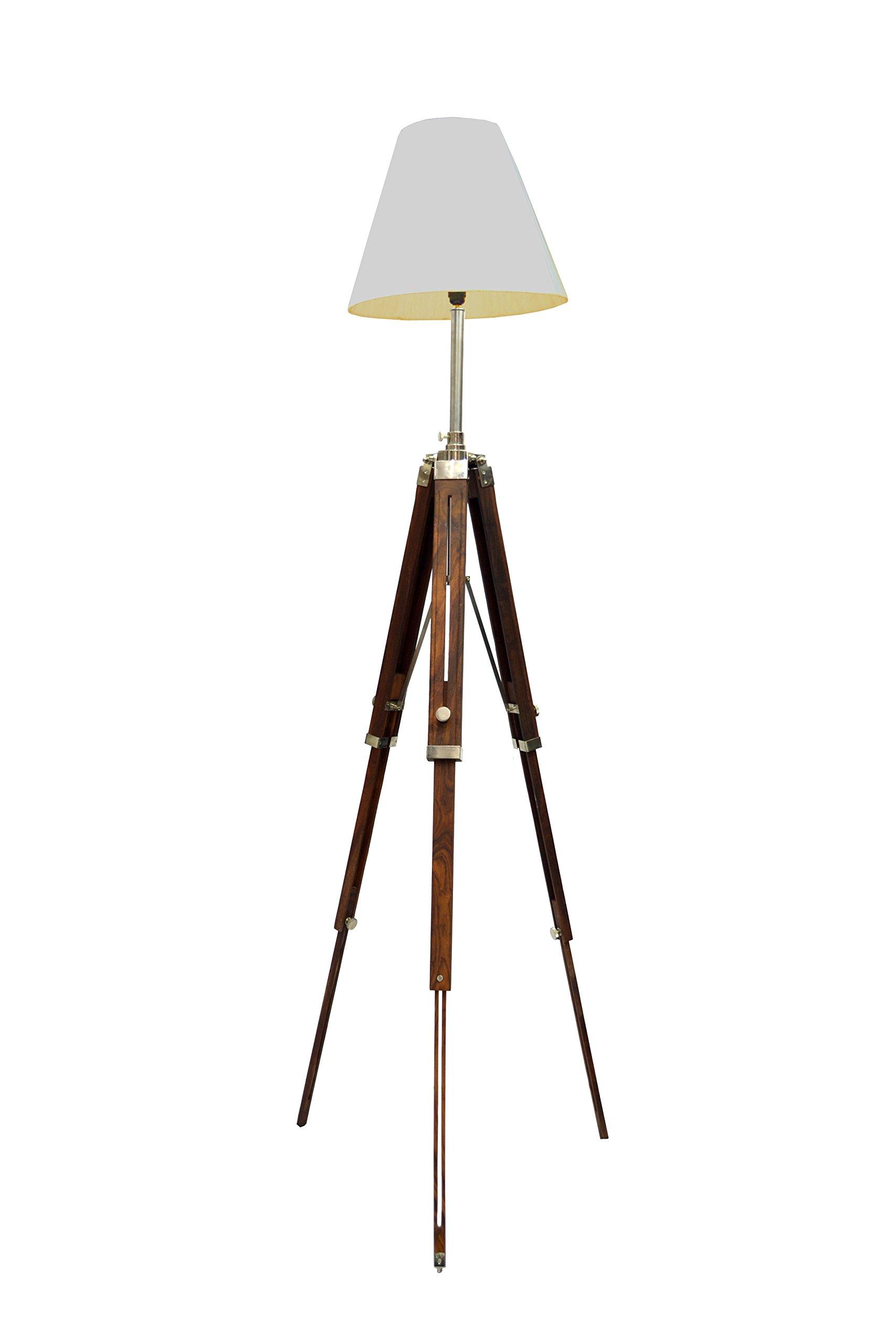 Brass Nautical Classical Designer Marine Tripod Floor Lamp Retro Vintage Wooden Tripod Lamp