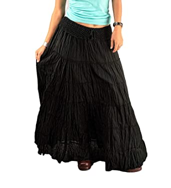 b5045c1dc5 Black Gypsy Skirts for Women Tiered Cotton Long Maxi Boho Hippy Flared  Plain Solid