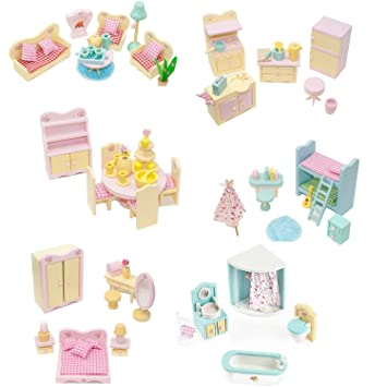 Komplette Packung Mit 6 Möbel Sets Für Sweetbee Holz Puppenhaus, 6 Schöne
