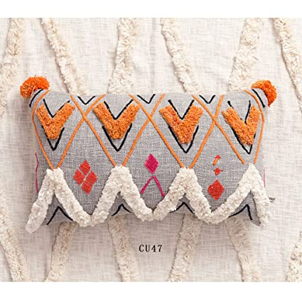 Amazon.com: Pillow Moroccan Style Hand-embroidered Cotton ...