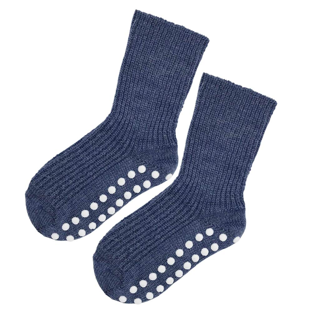 Kids Socks with Grips: Pure Organic Virgin Wool Socks for Girls and Boys, Size 1-8 Years (EU 25-26 | 3-4 Years, Denim Blue, 1-pack) by Ecoable