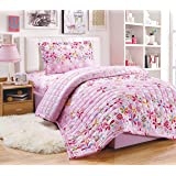 Kids 3Pcs Compressed Comforter Set, Single Size, Colored Flowers 2, Multi Color, Mixed Material