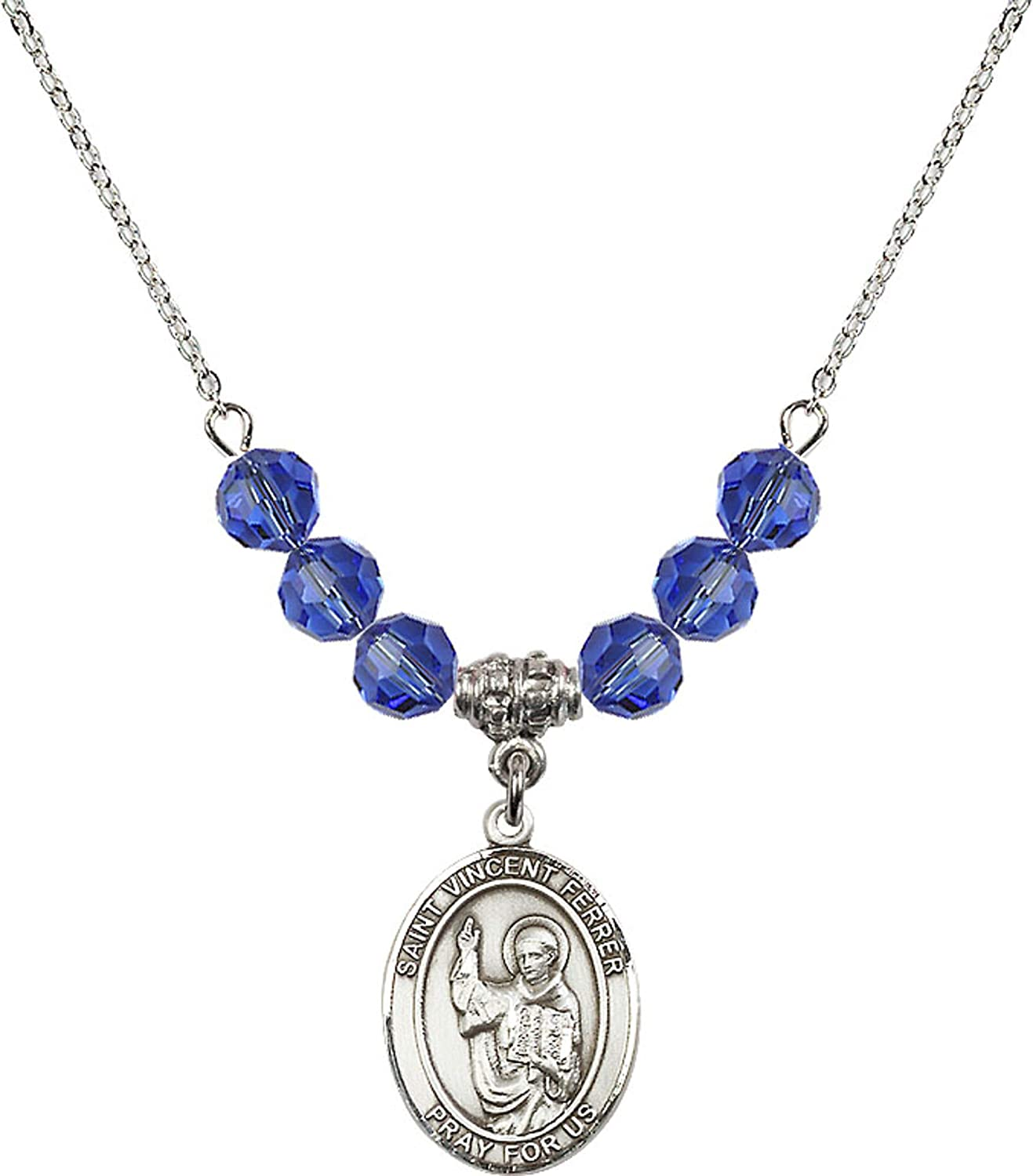 Bonyak Jewelry 18 Inch Rhodium Plated Necklace w// 6mm Blue September Birth Month Stone Beads and Saint Vincent Ferrer Charm