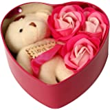 ShopAIS Unique Gift for your LOVED ONCE (Heart shaped Box with Teddy and Roses) - Multicolor