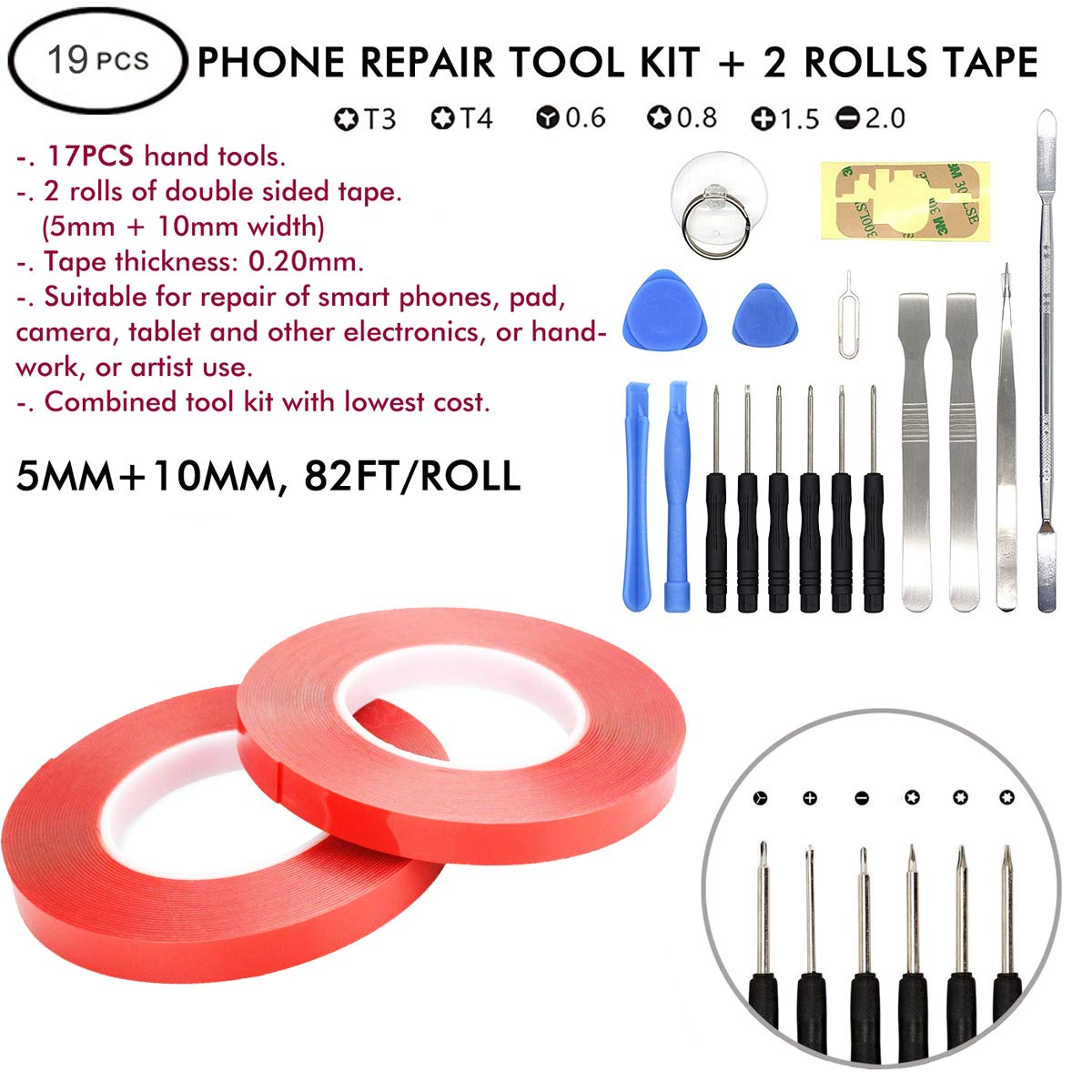LLP Double Sided Tape (2 Rolls PET) 5mm & 10mm x 164 Ft with 17PCS Repair Tool Kit for Phones, Laptops, iPads, RC, Toys & Electronics