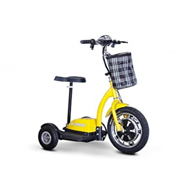 eWheels Stand or Ride Scooter with Folding Tiller in Yellow : Sports & Outdoors