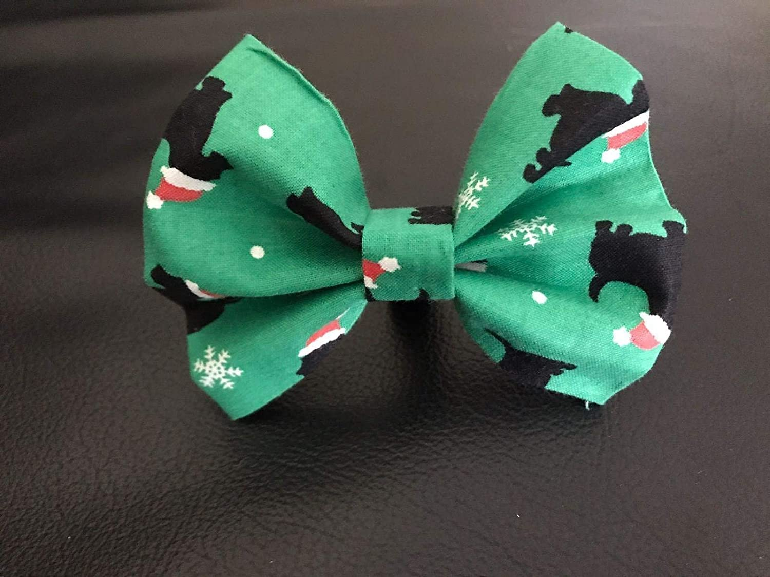 Dog Bow Tie in Green Christmas Dogs in Santa Hats and Snowflakes for Holiday Winter Pet Fashion - Small 4 Only
