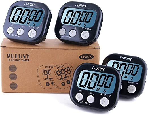 PUFUNY Digital Kitchen Timer,Cooking Timer,Large Display,Strong Magnet Back,Loud Alarm,Stand,for Cooking Baking Sports Games Office,User Guide Included,4 Pack Black PFTIMER10