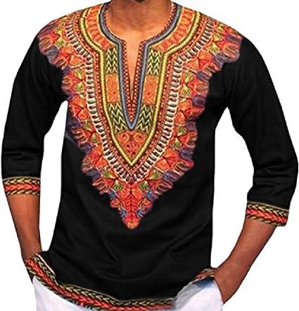 DressUMen Impresión de la moda africana dashiki jersey túnica tapas para Hombres: Amazon.es: Ropa y accesorios