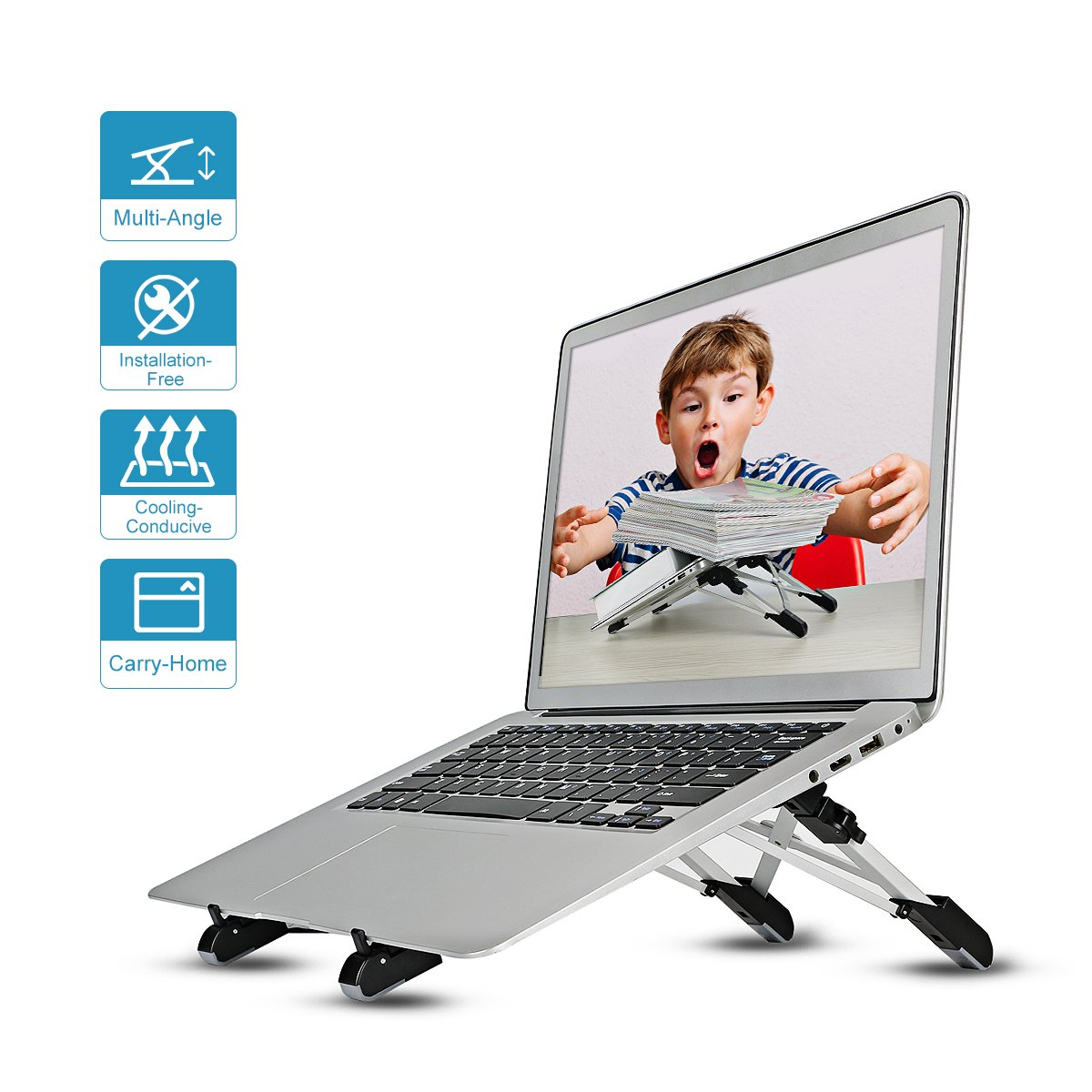 Laptop Stand Adjustable Folding Portable Stand Ergonomic Holder Aluminum Compatible with iPad Tablet(Silver) Megainvo Factory LPS003