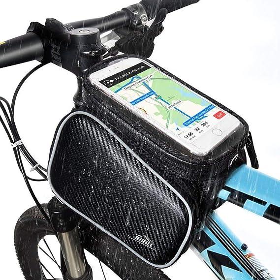 Bolsa de Bicicleta, Hihill Bolsa Manillar Bicicleta, Impermeable y Portátil Bolsa Móvil Para Tubo Superior de Cuadro de Bicicleta Adecuado con iphone X/ 8/ 7/ 6 & Plus, Samsung Galaxy Teléfono Móvil