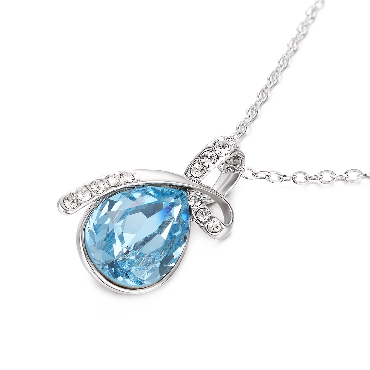 Yoursfs Blue Austrian Crystal Teardrop Pendant NecklaceHeart of the Ocean for Women Elegant Dressing and Present