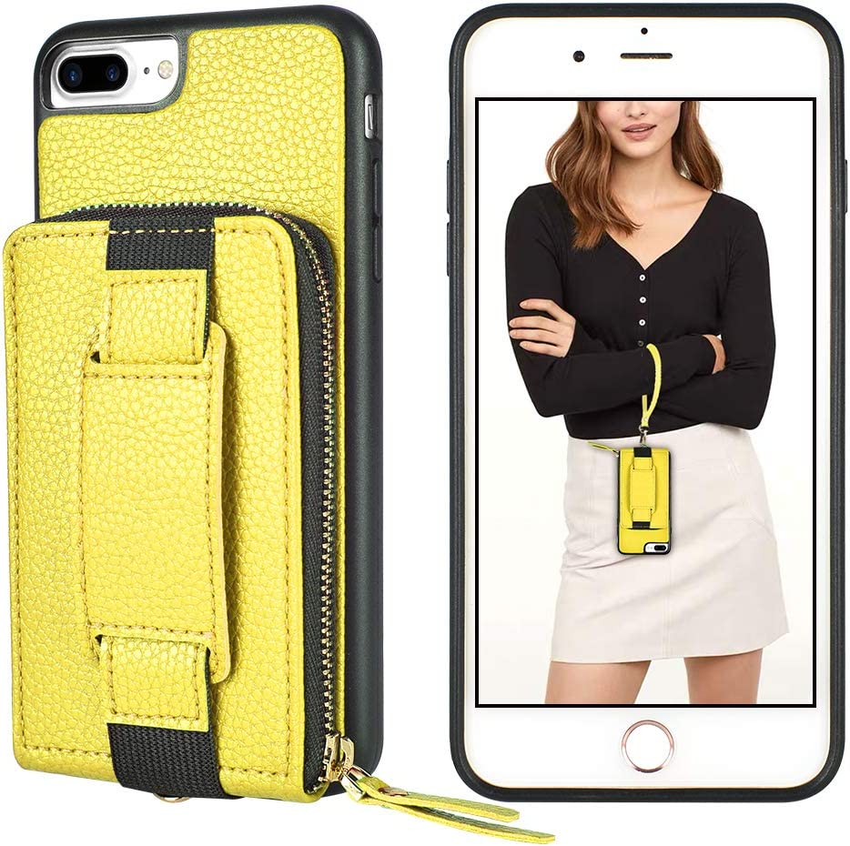 "iPhone 7 Plus Wallet Case, ZVEdeng iPhone 8 Plus Zipper Wallet Case with Card Holder Wrist Strap Lanyard Case with Stand for iPhone 7 Plus/8 Plus 5.5""-Lemon Yellow"