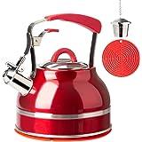 Secura - Tetera silbante para tetera, tetera de agua caliente de acero inoxidable para estufas con mango de silicona…