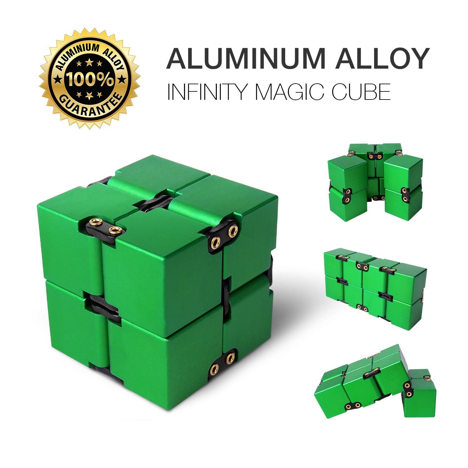 JOYNOTE Aluminium Alloy Infinity Pocket Size Cube Toys Relaxation Office Stress Reducers for ADD, ADHD, Anxiety, Autism Adult & Kids (Green)