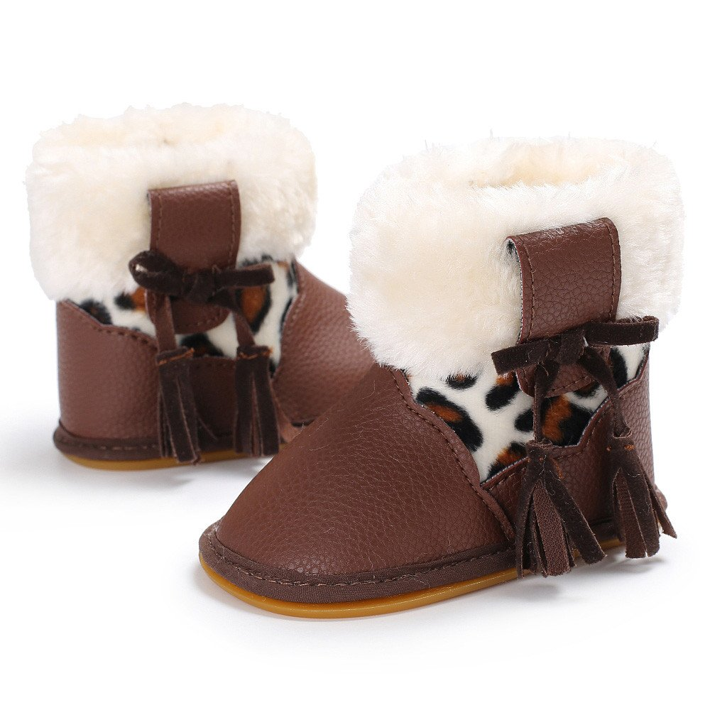 Celemdi Baby Girl Boy Fluff Booties Warming Snow Boots Toddler Winter Shoes