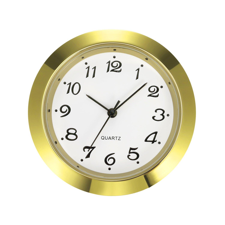 Mudder 1-7/16 Inch (36 mm) Clock Insert Fit Diameter 1-3/8 Inch (35 mm) Hole, Gold Bezel, Arabic Numerals