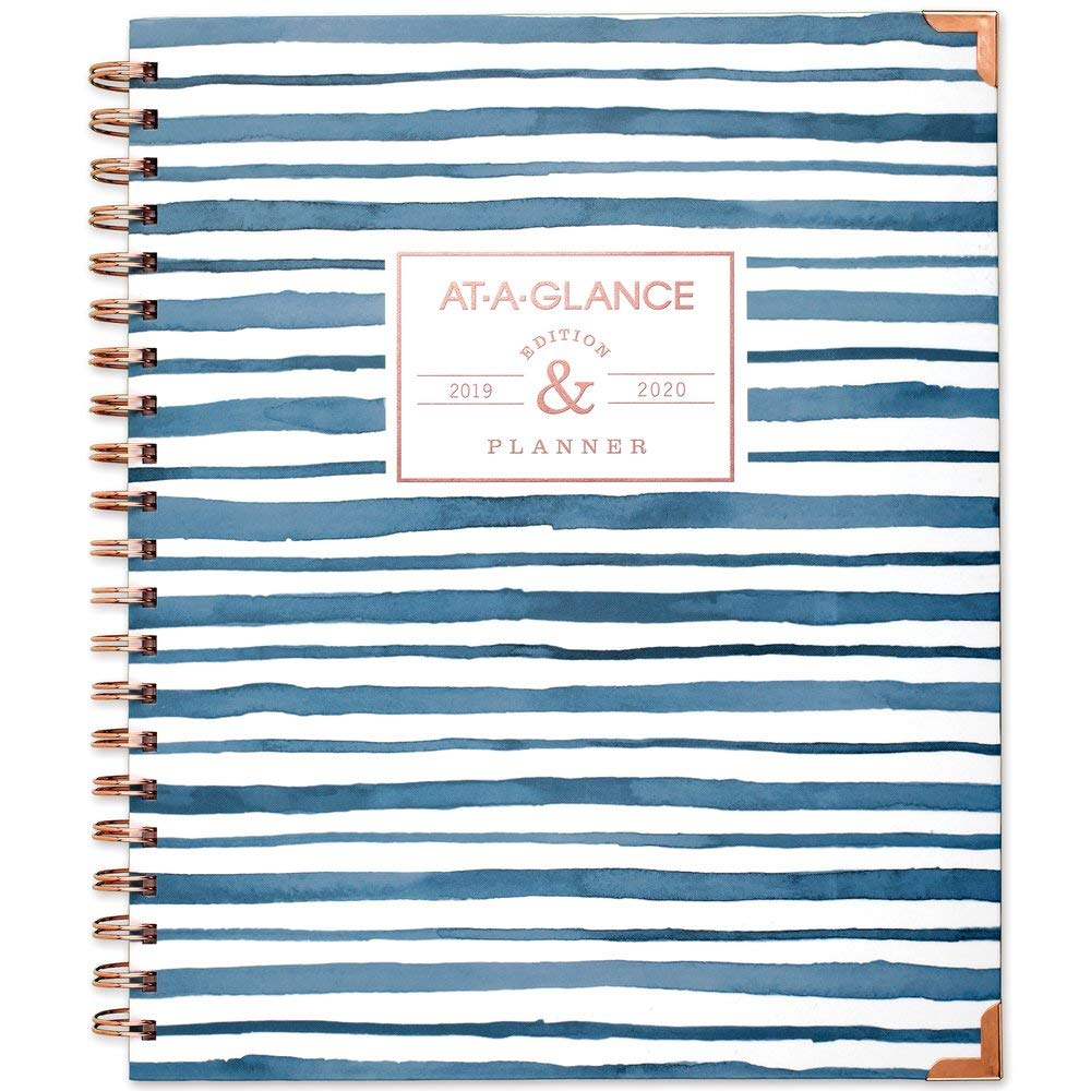 "AT-A-GLANCE 2019-2020 Academic Year Weekly & Monthly Planner, Large, 8-1/2"" x 11"", Hardcover, Badge, Stripes (6203S-905A)"