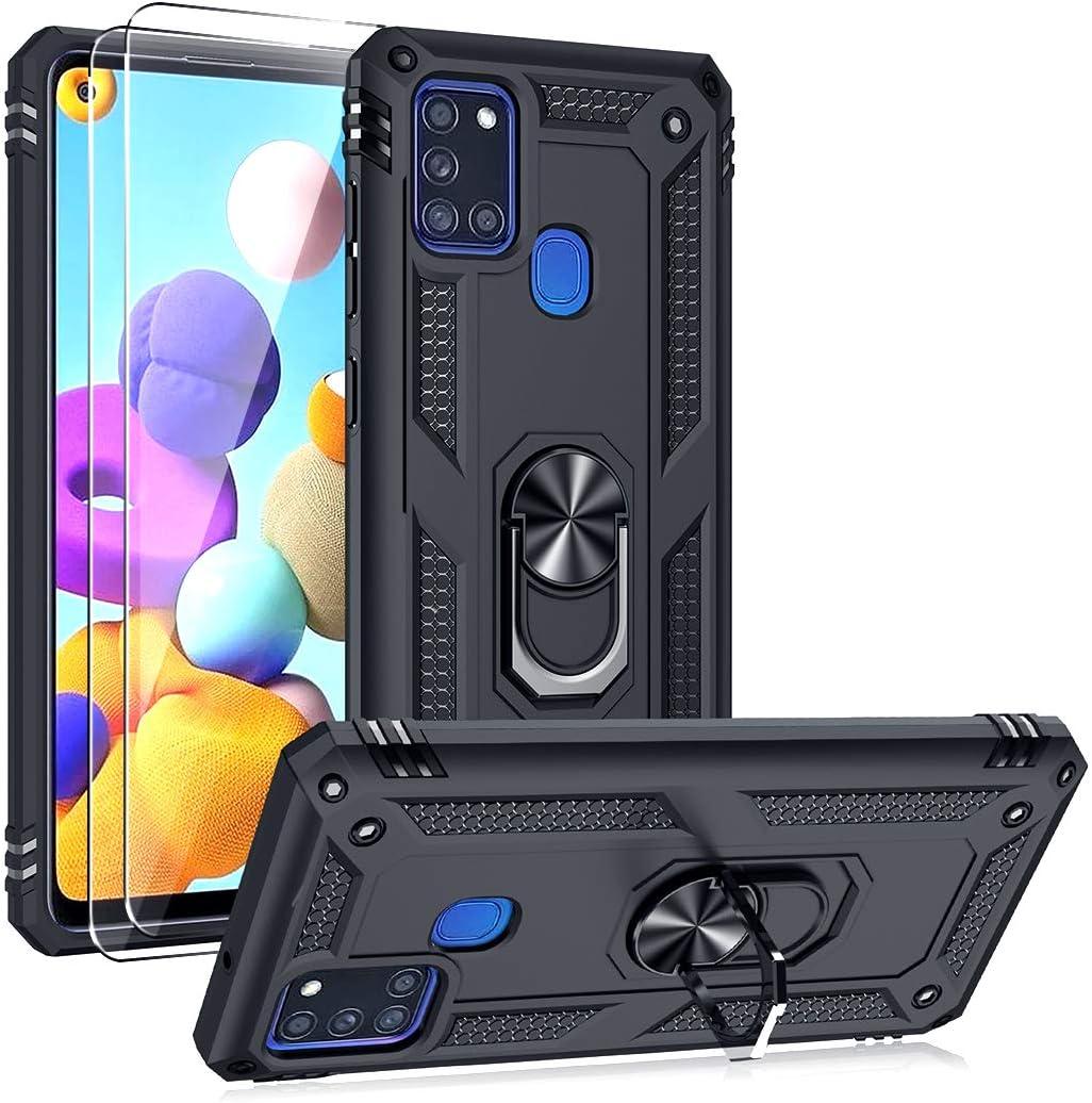 Oududianzi Funda para Samsung Galaxy A21s Estuche y 2 Protectores de Pantalla de Vidrio Templado, Soporte para Anillo TPU Protector de Grado Militar + PC Armadura Resistente a Prueba de Golpes-Negro: Amazon.es: