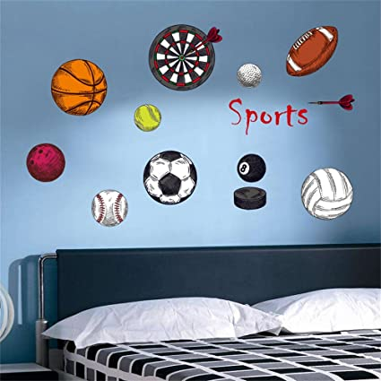 decalmile Sports Wall Decals Basketball Football Wall Stickers Peel and  Stick Removable Wall Art for Kids Bedroom Boys Room Nursery Classroom