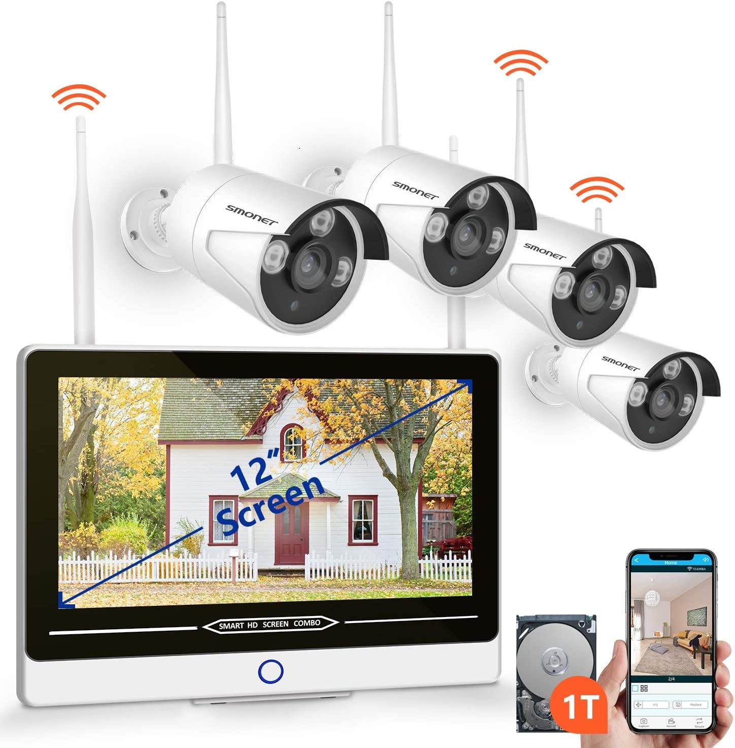 2019 NEW All in One with 12 Monitor Security Camera System Wireless,SMONET 8-Channel 1080P Home Security System 1TB Hard Drive ,4pcs 1.3MP Outdoor Wireless IP Cameras,P2P,Easy Remote View,Free APP
