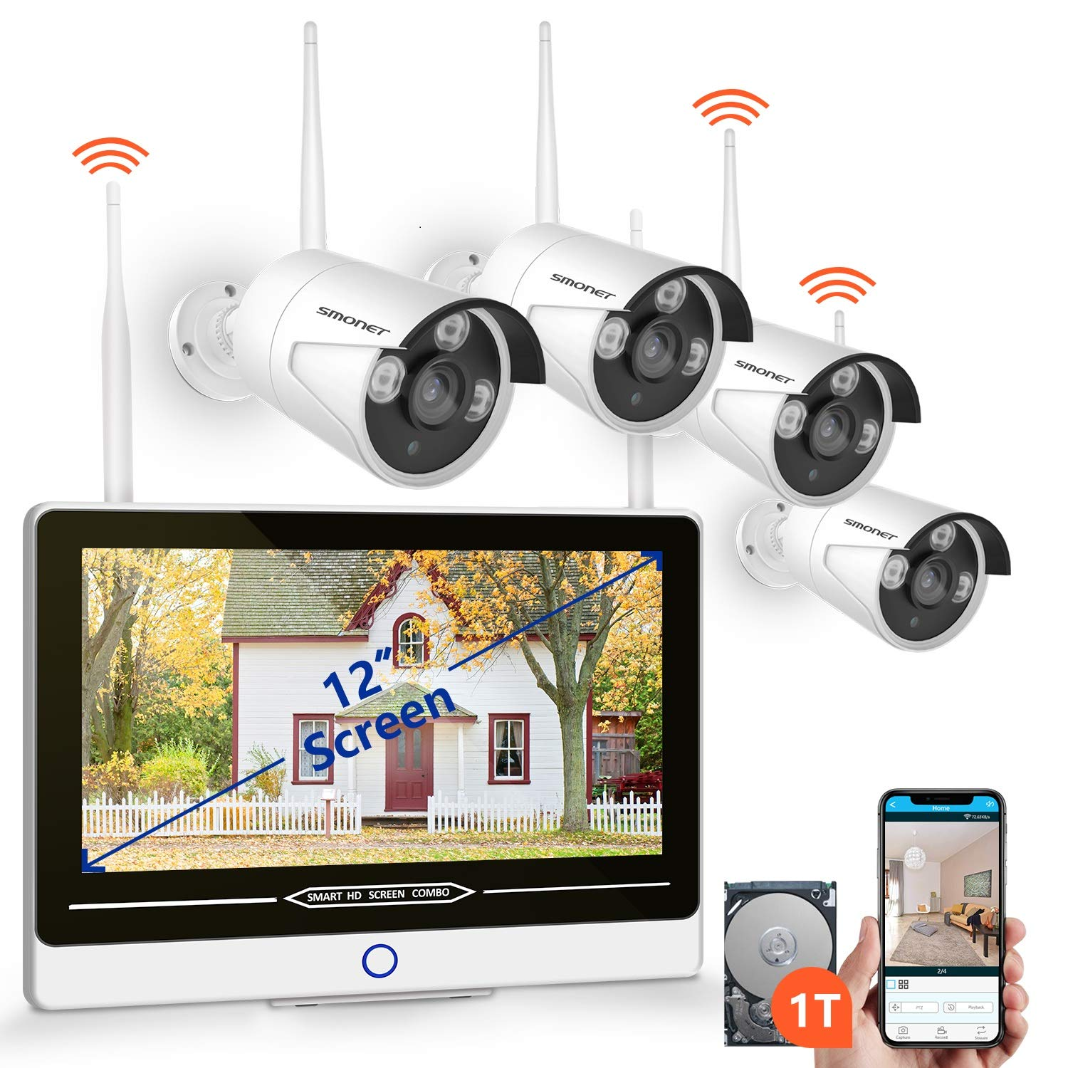 【2019 NEW】All in One with 12'' Monitor Security Camera System Wireless,SMONET 8-Channel 1080P Home Security System (1TB Hard Drive),4pcs 1.3MP Outdoor Wireless IP Cameras,P2P,Easy Remote View,Free APP