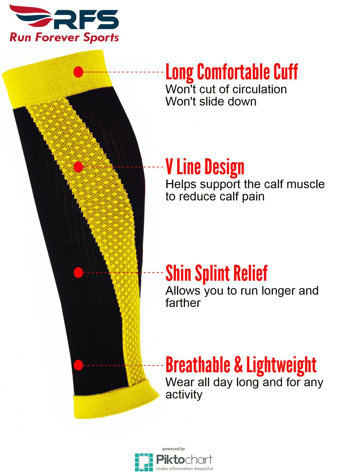 AHOMATE Shin Splint Compression Sleeves By Run Forever Sports – Health & Fitness Accessories for Men & Women – Ideal for Running, Cycling, Nurses, Maternity & More (Yellow, Medium)