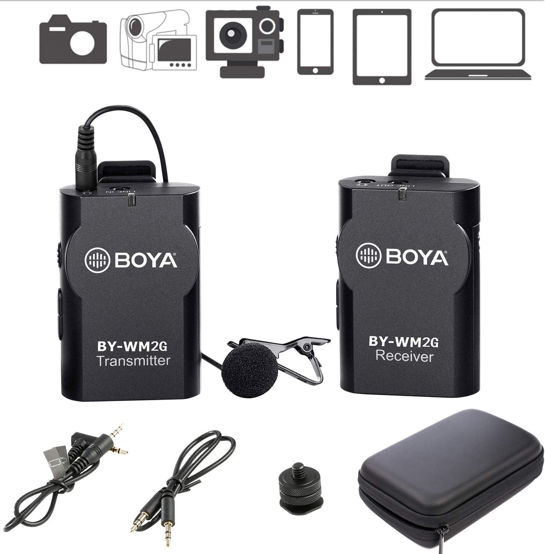 Sistema de micrófono inalámbrico Lavalier BOYA BY-WM2G Compatible con iPhone 8 8 Plus 7 6 Smartphone, Canon 6D 600D Nikon D800 D3300 Sony A7 A9 DSLR GoPro Hero4 Hero3 Hero3 + Action Cameras