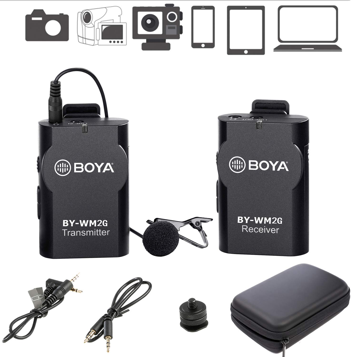 BOYA BY-WM2G Wireless Lavalier Microphone System Compatible with iPhoneX 8 8 Plus 7 6 Smartphone,Canon 6D 600D Nikon D800 D3300 Sony A7 A9 DSLR GoPro Hero4 Hero3 Hero3+ Action Cameras by BOYA