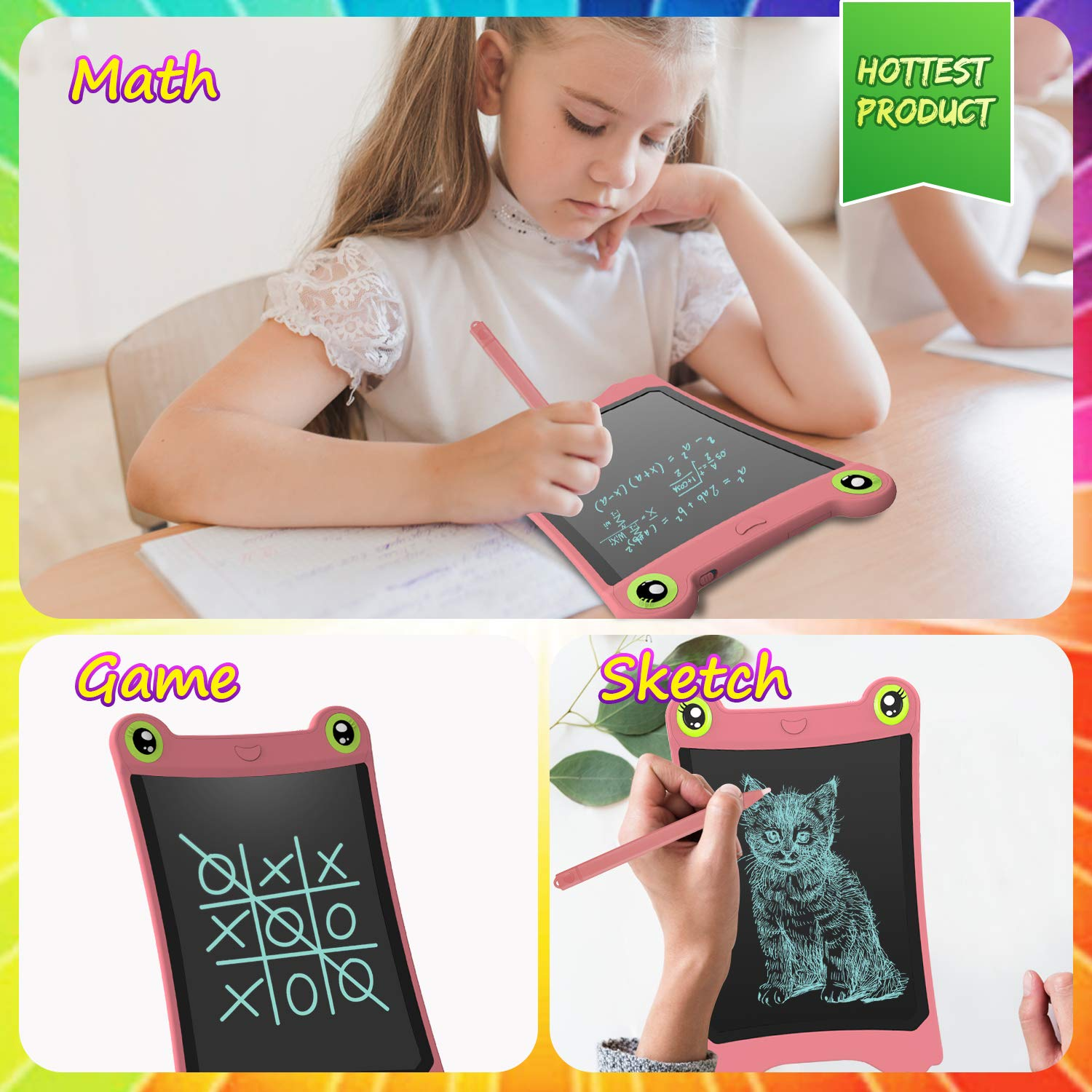 NEWYES 8.5 Inch LCD Writing Tablet Updated Frog Pad Children Electronic Doodle Board Jot Digital E-Writer Kids Scribble Toy with Lock Function Pink by NEWYES (Image #6)