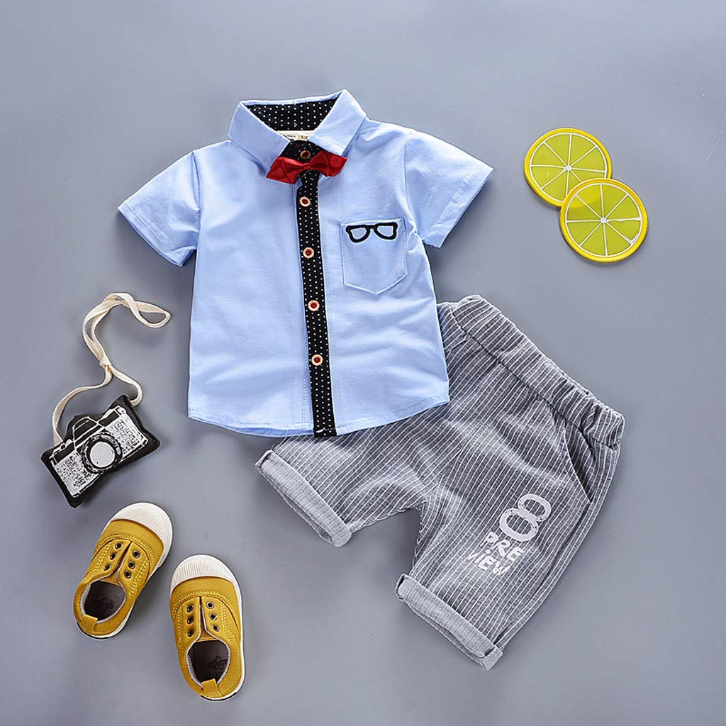 ❤️ Mealeaf ❤️ Toddler Kids Boys Short Sleeve Bowtie Sunglass Print T-Shirt Tops+Pants Outfits(White,110)