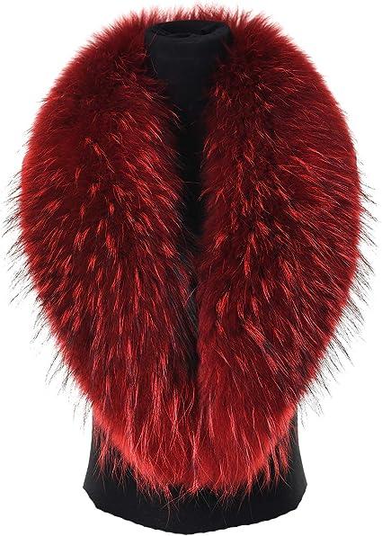 TALLA Longitud: 80 cm. Ferand - Bufanda Estola del Cuello de Piel de Mapache Real, Elegante Y Desmontable, Ideal para Sus Trajes en Invierno - Mujer