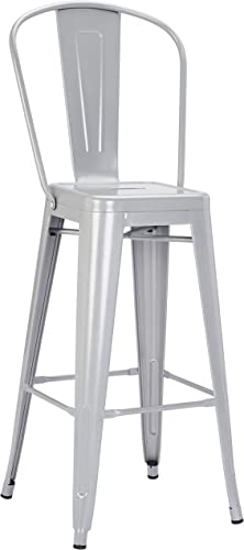 Pioneer Square Harris 30-Inch Bar-Height Metal Stool with Back Rest, Set of 4, Silver Cloud