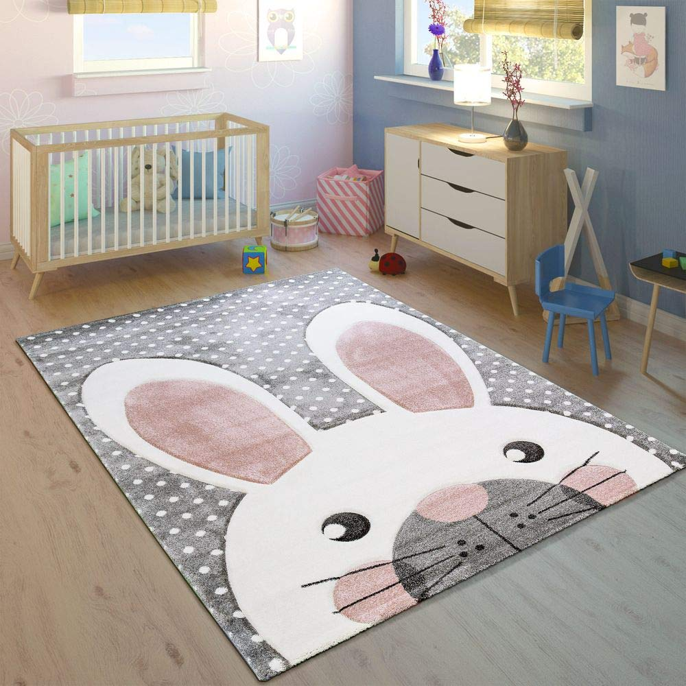 Paco Home Kinderteppich Kinderzimmer Konturenschnitt Niedlicher Hase Grau Creme Rosa, Grösse 140x200 cm