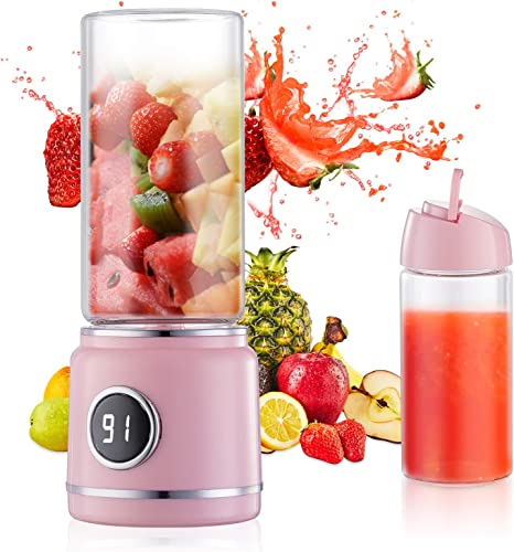 Mini Blender USB Rechargeable Portable Personal Wireless Juicer with 6PCS Blades 15 Cups for Home Office Travel Outdoor Smoothie Pink