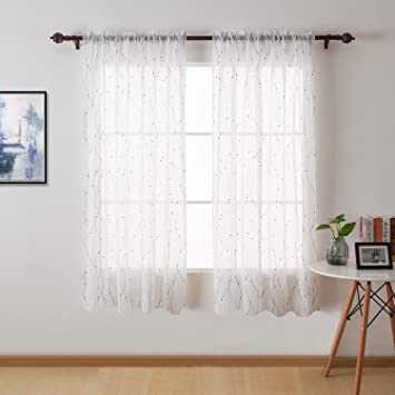 Deconovo White Sheer Curtain 63 Transparent Curtains Wave Line With Dots  Linen Look Rod Pocket Sheers