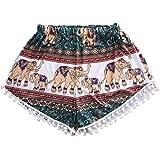 Sannysis DamenTierdruck Hot Pants mit hoher Taille Strand Shorts
