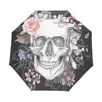 ea437a186609 Amazon.com: Umbrella Skull And Flowers Golf Travel Sun Rain ...