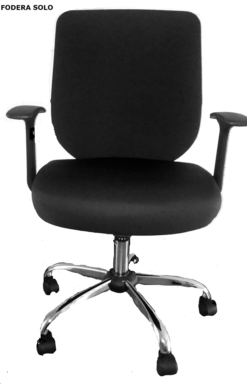 FODERA, COPRI per Sedie da Ufficio (COPRI SOLO): schienale 50-52cm; sedile 50-52cm NERO Kerrykins L2