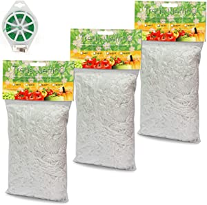 GROWNEER 3 Packs 5 x 15 Feet Heavy Duty Polyester Plant Trellis Netting with 164 Feet Twist Tie, Plant Support Vine Climbing Grow Net for Grapes, Tomatoes, Cucumbers, or Other Climbing Plants