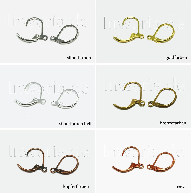 INWARIA Ohrhaken mit Verschluss 10 Stk. Brisuren Klappbrisuren Farbwahl Ohrscmuck, S23, 14 x 11 mm, Kupferfarben