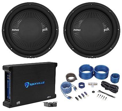 (2) Polk Audio MM 1242 SVC 12 2520w Car Audio Subwoofers+Mono Amplifier