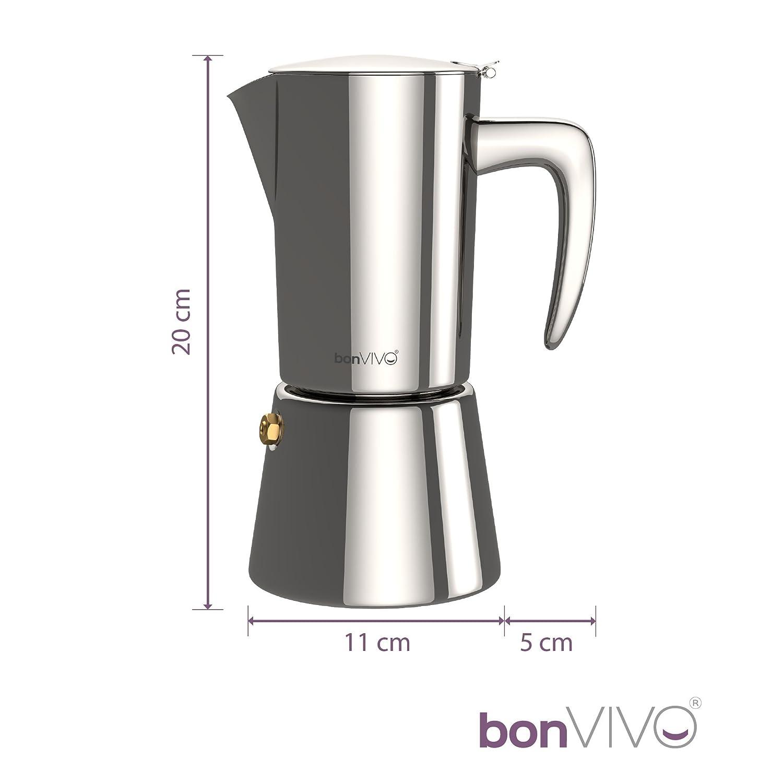 Cafetière Intenca pour café Expresso corsé en INOX Finition chromée avec Carafe Moka Classique pour 6 Tasses Bonstato GmbH BonVivo