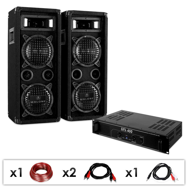 DJ-24 PA SET mit 1200 Watt Verstärker & 1200 Watt PA Boxen + Kabel ...