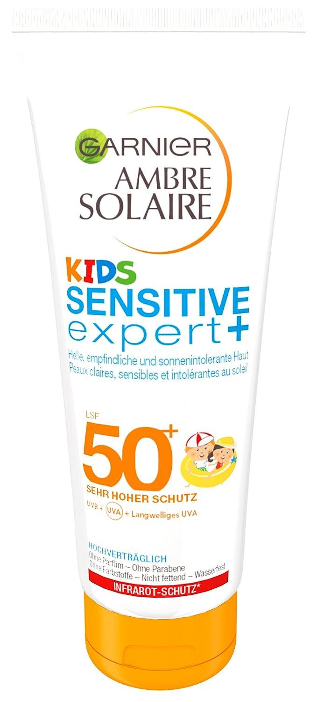 Garnier Ambre Solaire Kids Sensitive expert+ Sonnenmilch, mit LSF 50+, speziell für Kinder, zieht schnell ein, extra wasserfest, 200 ml speziell für Kinder C47293
